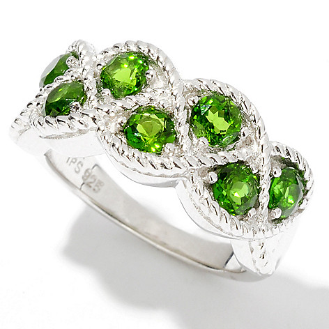 114-652 - Gem Insider Sterling Silver 1.43ctw Round Chrome Diopside Braid Ring