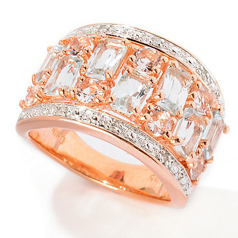 114-726 - NYC II® 1.92ctw Baguette Aquamarine, Morganite & Diamond Ring