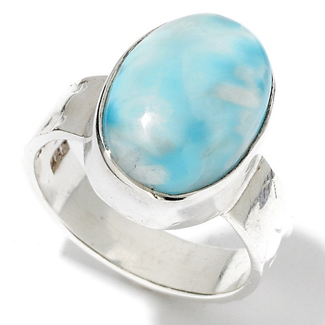 114-784 - Gem Insider Sterling Silver 14 x 10mm Oval Larimar Hammered Shank Ring