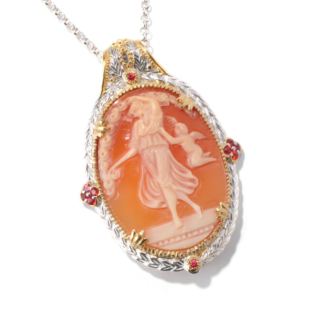 114-838 - Gems en Vogue II 35 x 27mm  Italian Hand-Carved Angel & Cherub Shell Cameo Pendant