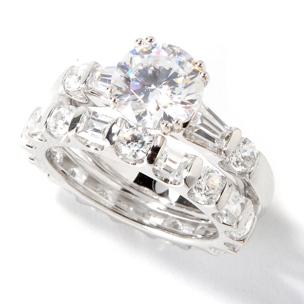 114-872 - Brilliante® Set of Two Platinum Embraced™ Round Cut Simulated Diamond Rings