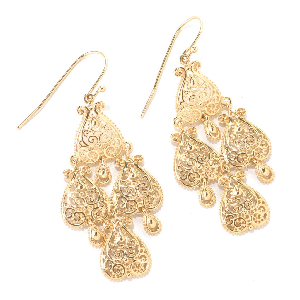 "114-902 - Jaipur Bazaar Gold Embraced™ 2"" Ornate Chandelier Earrings"