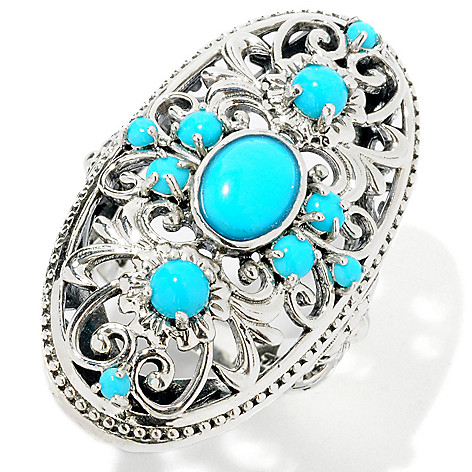 114-977 - Gem Insider™ Sterling Silver Sleeping Beauty Turquoise Elongated Ring