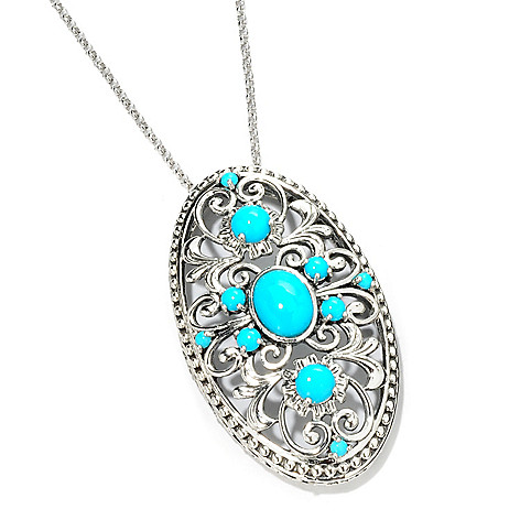 114-978 - Gem Insider Sterling Silver Sleeping Beauty Turquoise Pendant w/ Chain