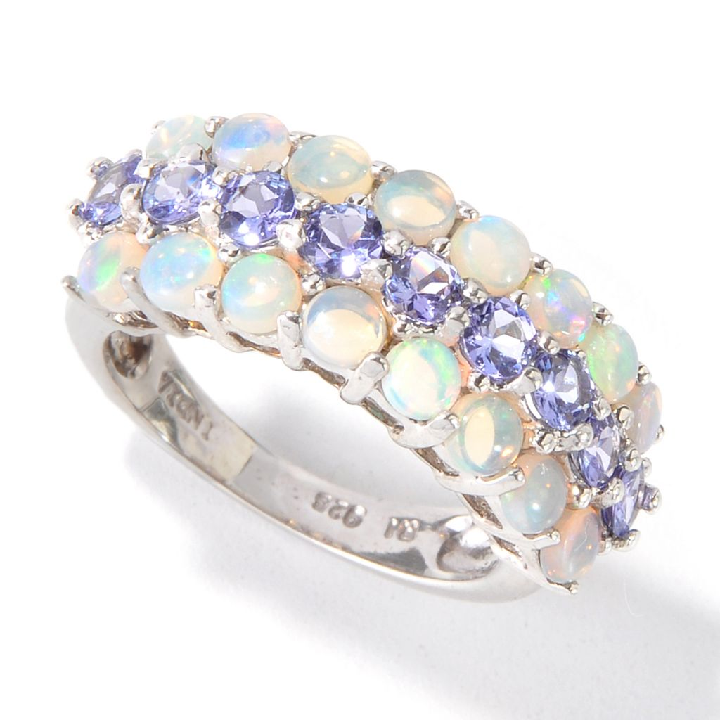115-079 - Gem Insider Sterling Silver 3mm Opal & Tanzanite Three-Row Ring