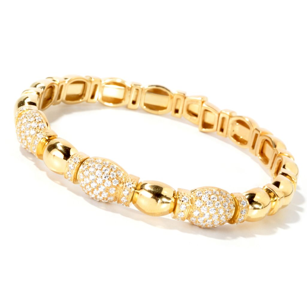 115-102 - Sonia Bitton 2.21 DEW Oval Station Simulated Diamond Flex Bracelet