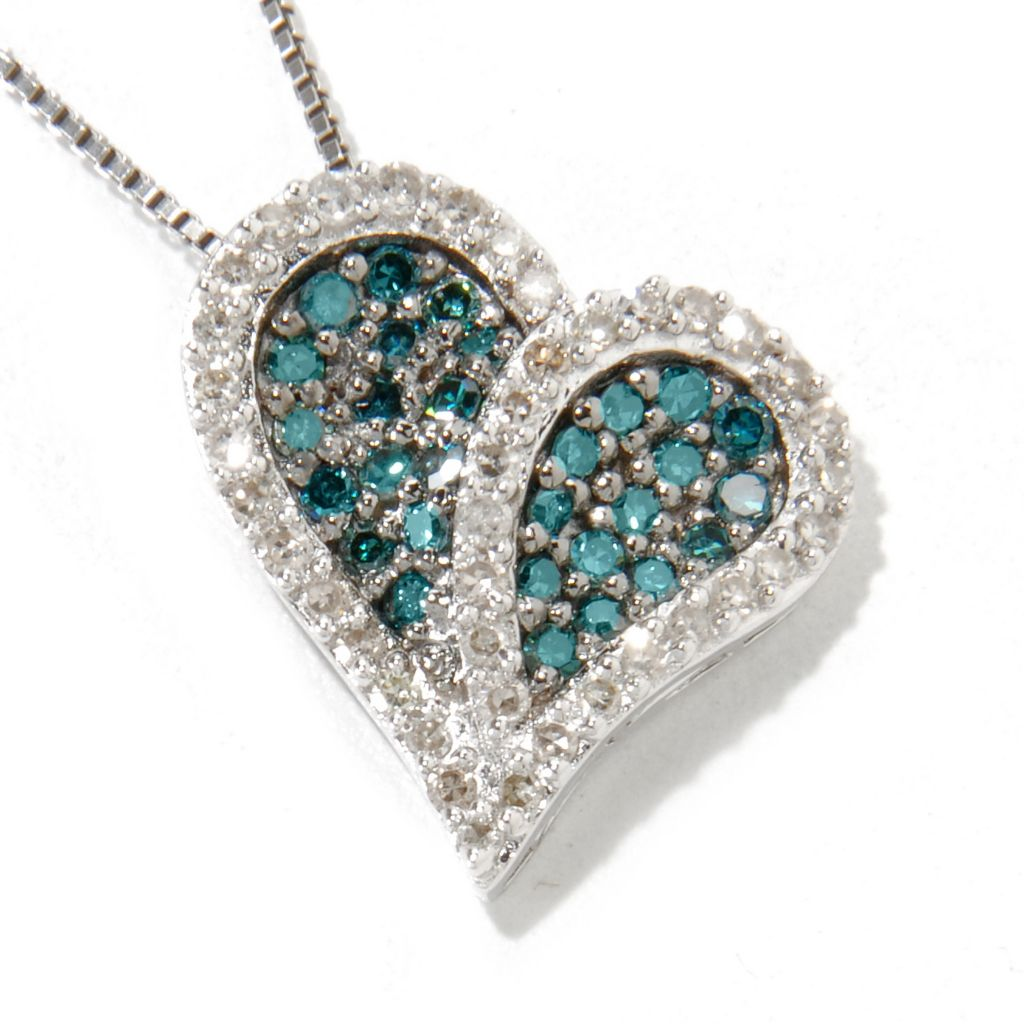 115-123 - Diamond Treasures Sterling Silver 0.50ctw Multi Color Diamond Heart Pendant w/ Chain