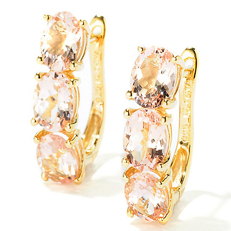 115-137 - NYC II™ 4.31ctw Oval Morganite Three-Stone Earrings