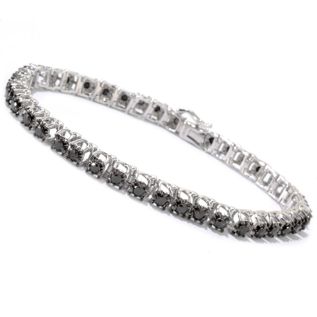 115-270 - Diamond Treasures Sterling Silver Round Cut Black Diamond Bracelet