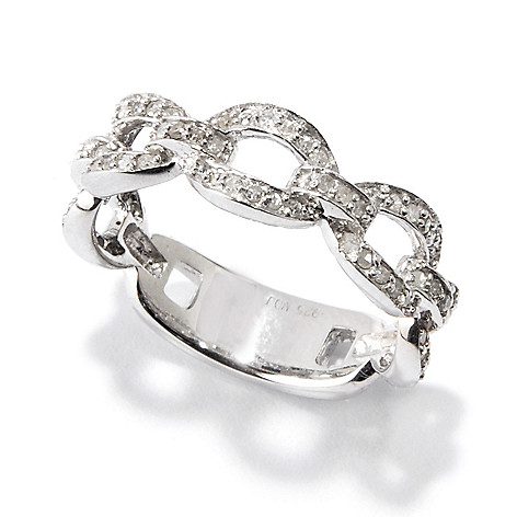 115-347 - Diamond Treasures® Sterling Silver 0.33ctw Diamond Link Thumb Ring
