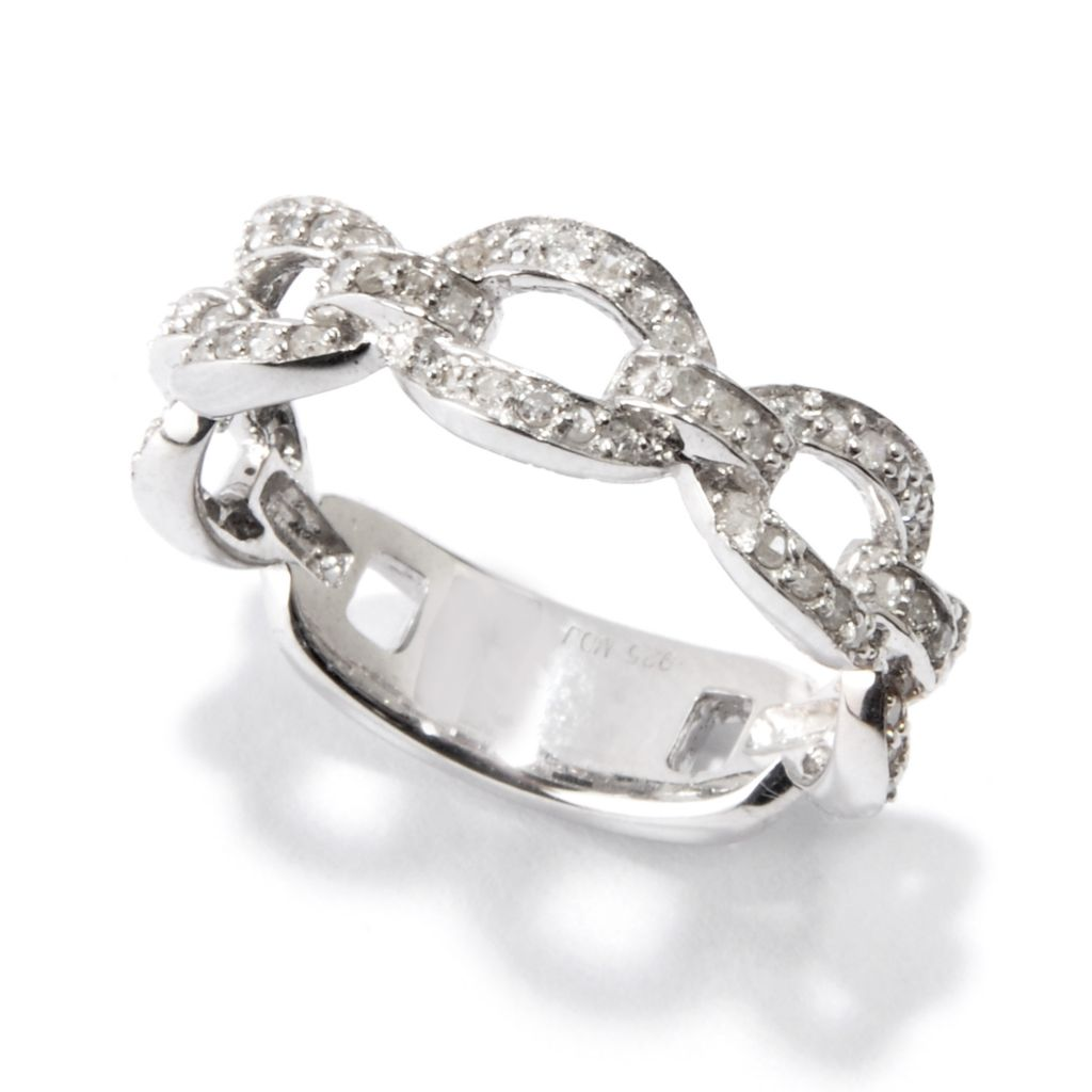 115-347 - Diamond Treasures Sterling Silver 0.33ctw Diamond Link Thumb Ring