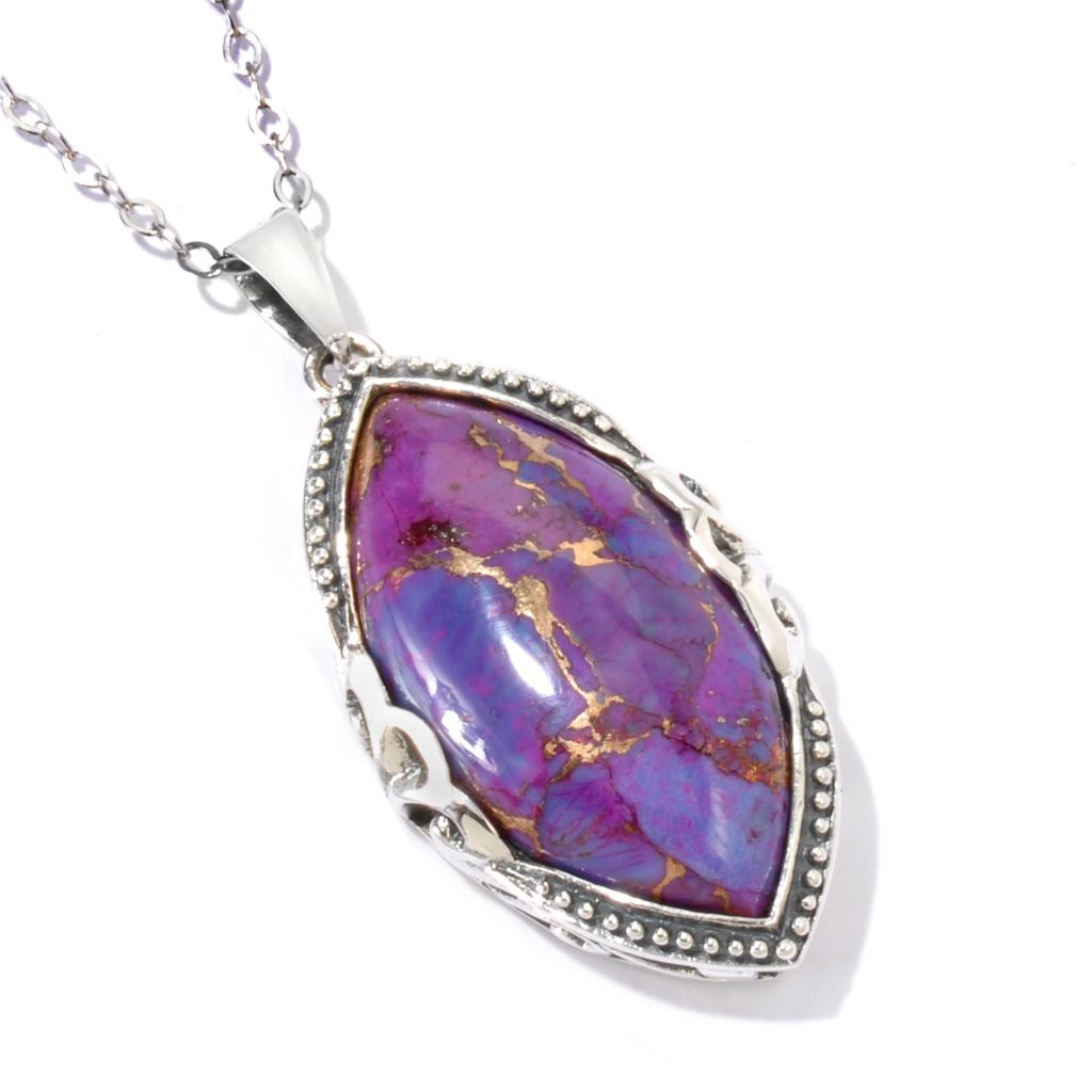 115-353 - Gem Insider Sterling Silver 30 x 15mm Purple Kingman Turquoise Pendant w/ Chain