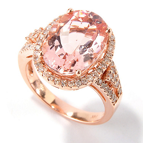 115-500 - Gem Treasures® 14K Rose Gold 6.46ctw Oval Morganite & Diamond Halo Ring
