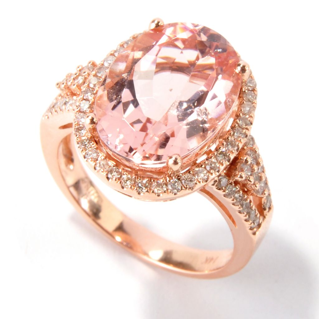 115-500 - Gem Treasures 14K Rose Gold 6.46ctw Oval Morganite & Diamond Halo Ring