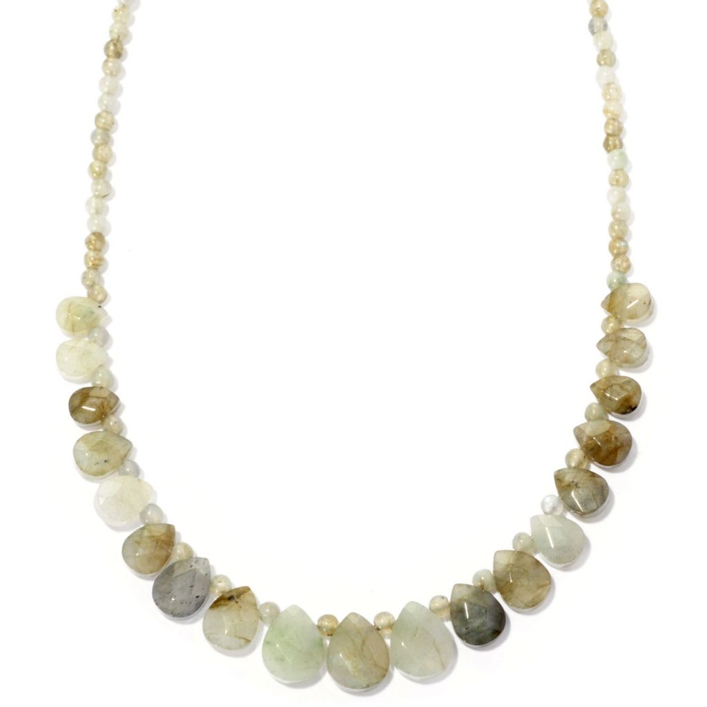 "115-760 - Gem Insider Sterling Silver 18"" Faceted Gemstone Bead Necklace"