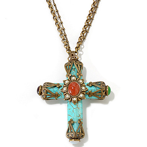 115-839 - Sweet Romance™ Vintage Inspired 17'' Necklace w/ Magnesite Cross & 5'' Extender