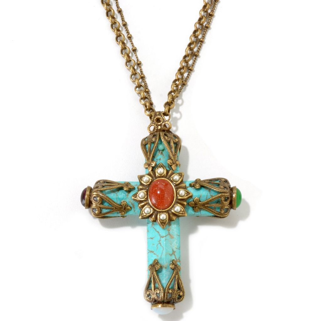 115-839 - Sweet Romance™ Magnesite & Glass Vintage-Inspired Multi Strand Cross Necklace