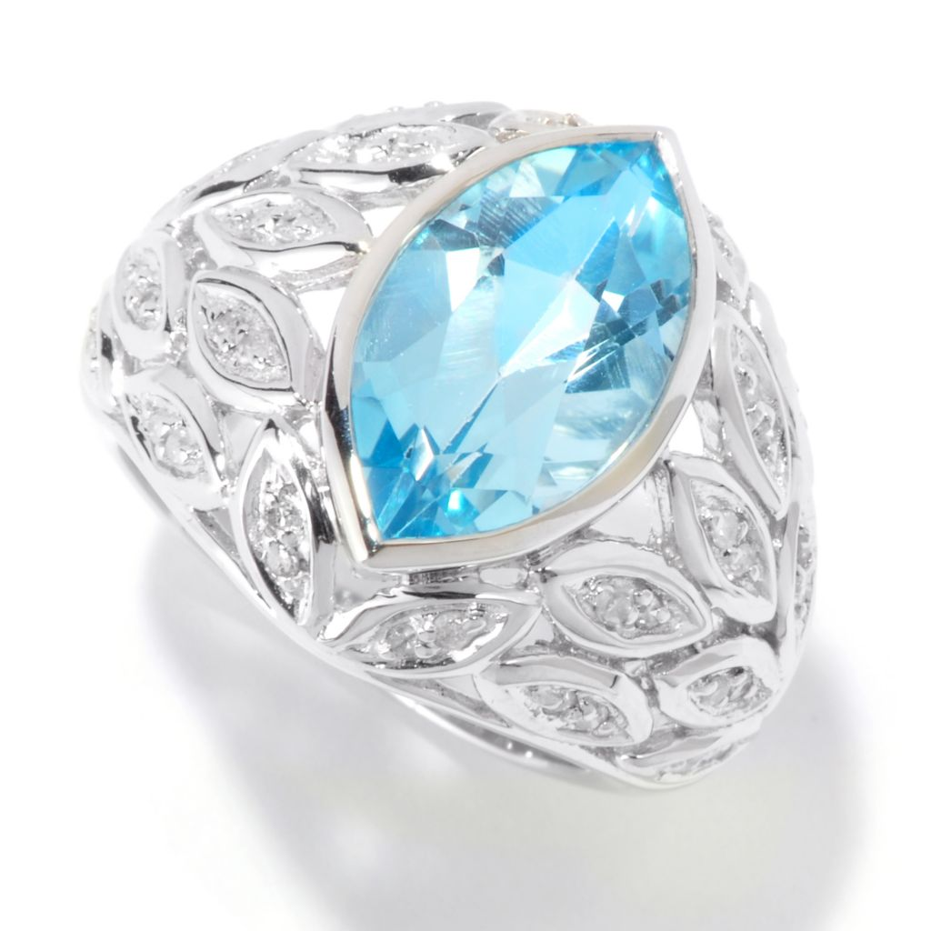 115-845 - Gem Insider Sterling Silver 5.11ctw Sky Blue Topaz & Diamond Ring