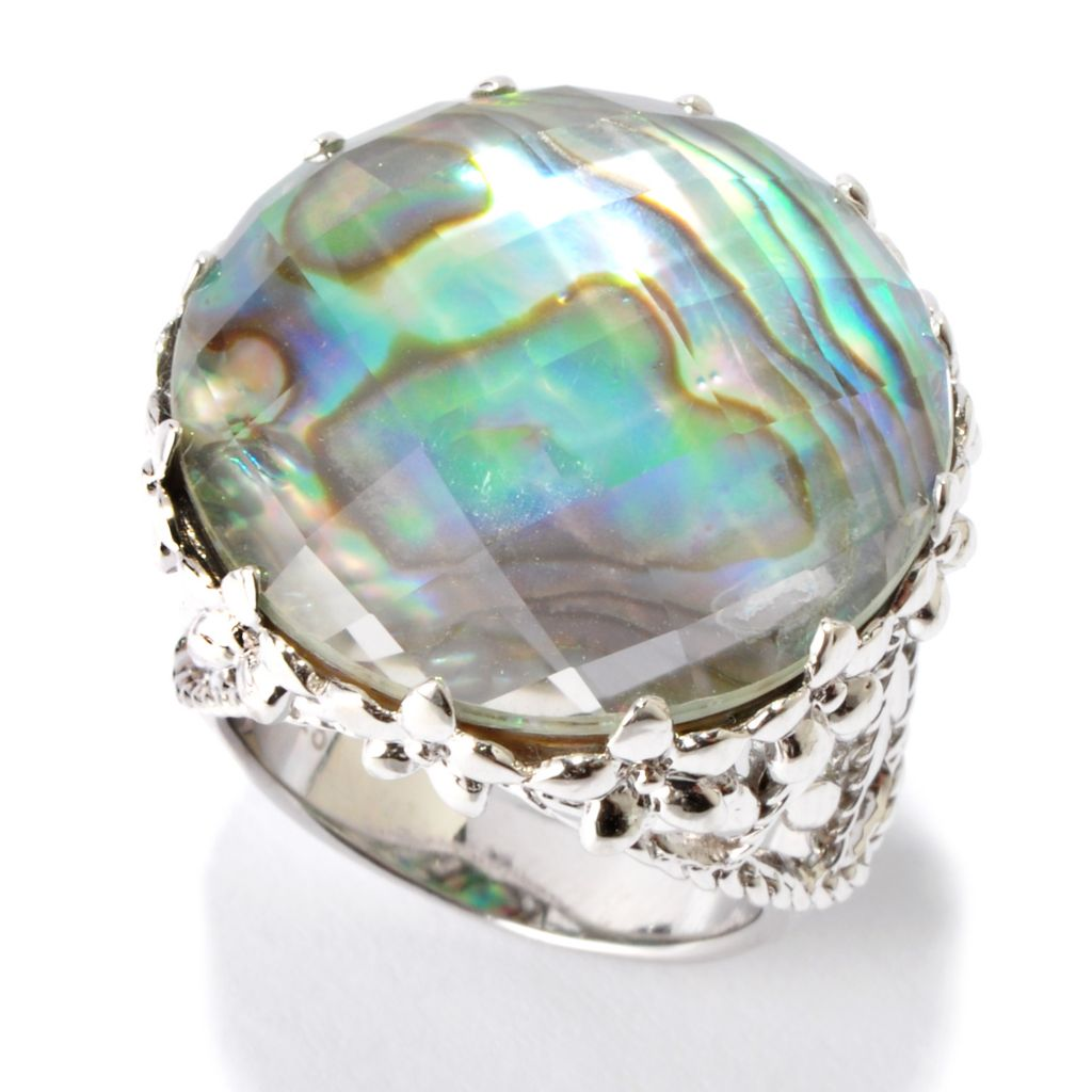 115-897 - Gem Insider Sterling Silver 22mm Abalone & Rock Crystal Doublet Ring