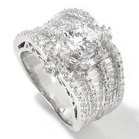 115-953 - Brilliante® Platinum Embraced™ 3.29 DEW Simulated Diamond Three-Row Ring