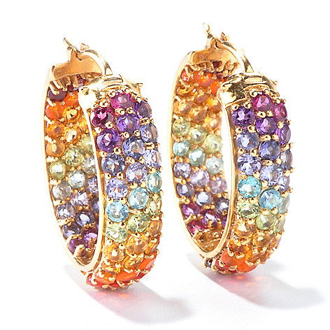 116-035 - NYC II Exotic Rainbow Multi Gemstone 1'' Inside-Out Hoop Earrings