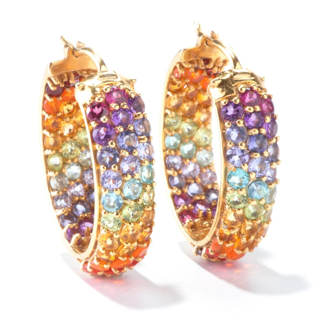 "116-035 - NYC II Exotic Rainbow Multi Gemstone 1"" Inside-Out Hoop Earrings"