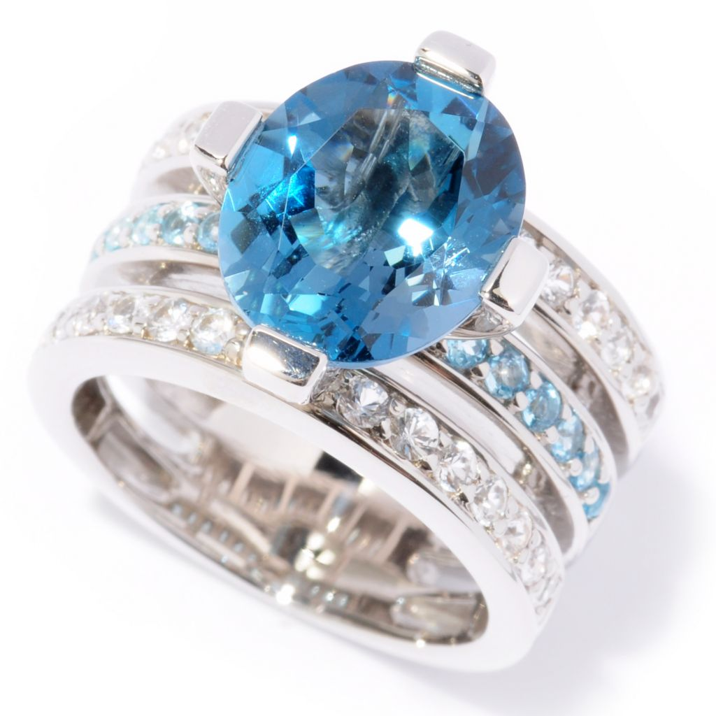 116-068 - Omar Torres 5.97ctw London Blue Topaz & White Sapphire Three-Row Ring