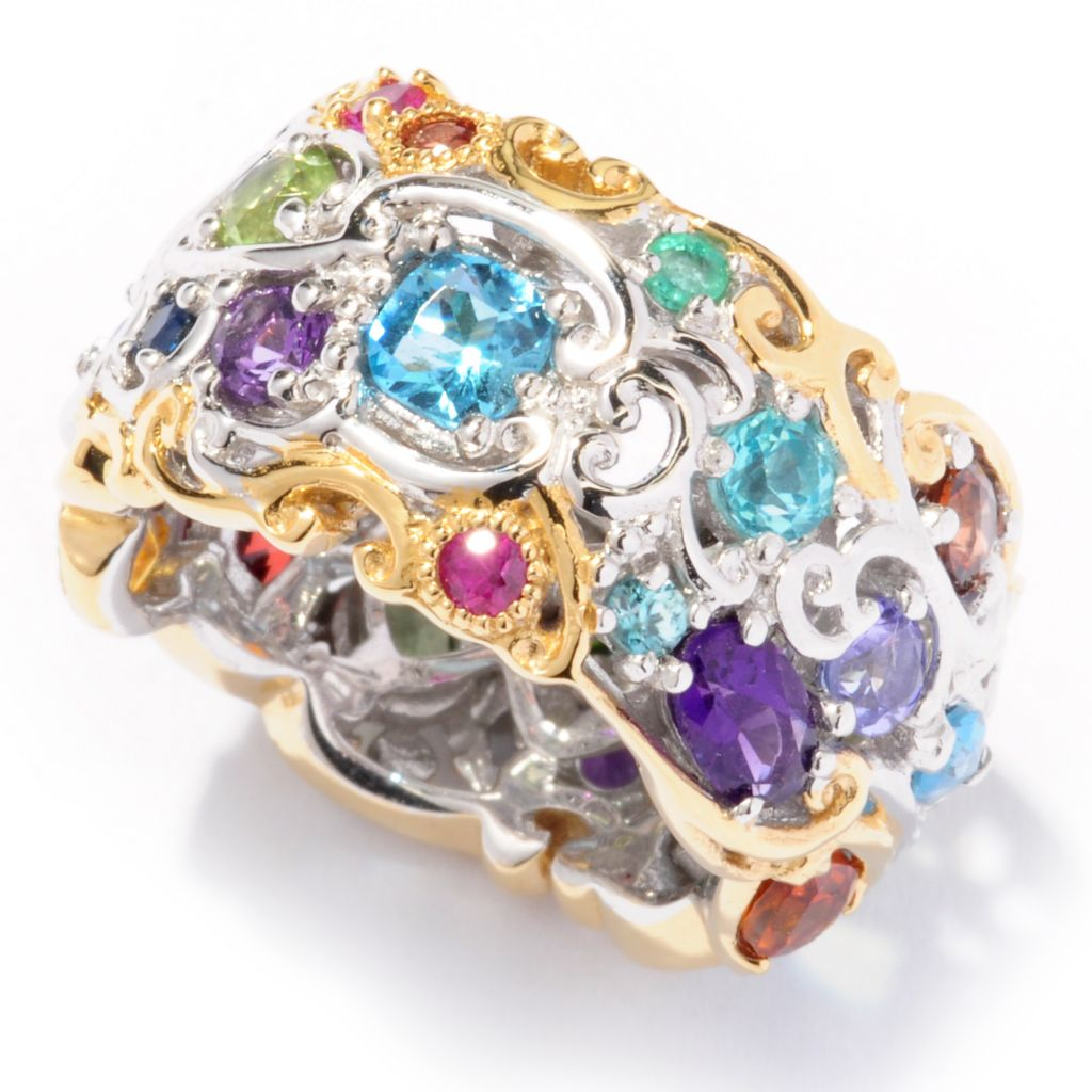 "116-140 - Gems en Vogue Multi-Gemstone ""Carnaval"" Eternity Band Ring"