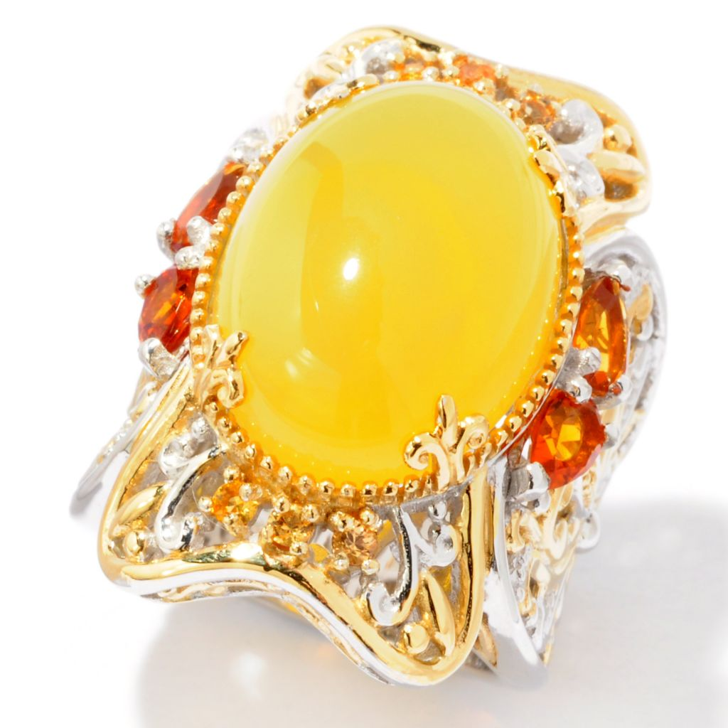 116-154 - Gems en Vogue II 18 x 13mm Yellow Opal, Fire Citrine & Yellow Sapphire Ring
