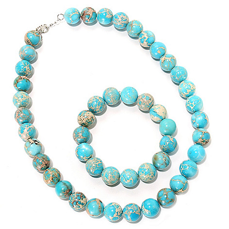 116-193 - Gem Insider Sterling Silver 14mm Variscite 19'' Necklace & 6.5'' Bracelet Set