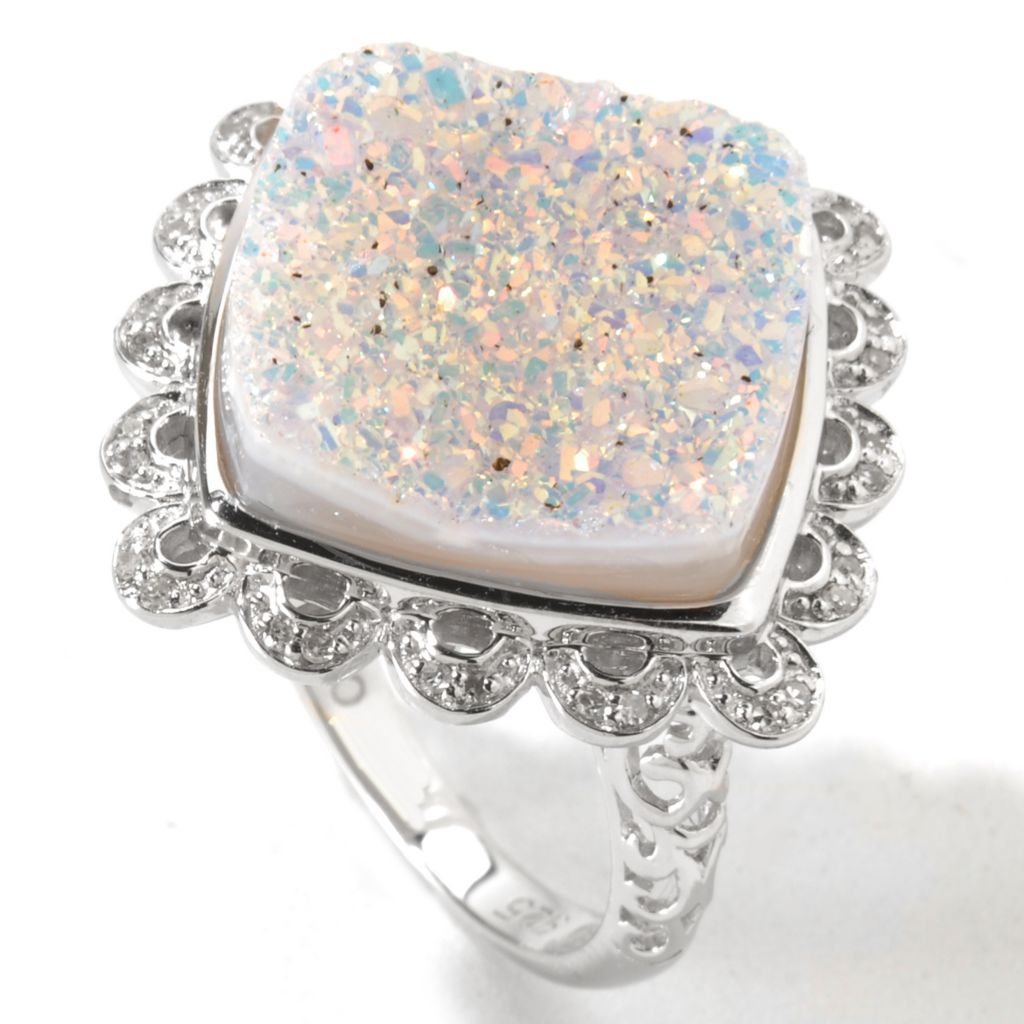 116-335 - Gem Insider Sterling Silver 15mm Square Snow Opal Drusy & Diamond Ring