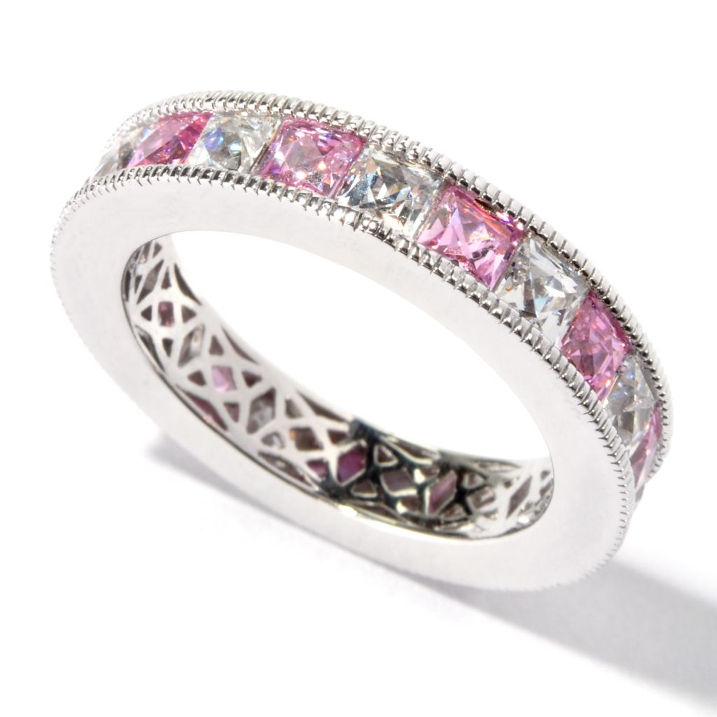 116-518 - TYCOON Platinum Embraced™ 3.98 DEW Simulated Diamond Pink Eternity Ring