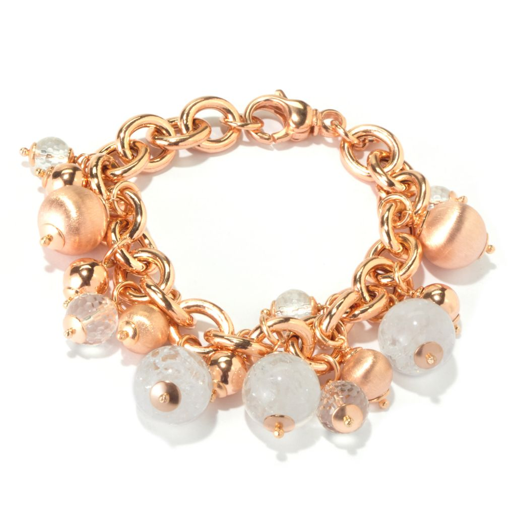 "116-538 - Milano Luxe Gold Embraced™ 8"" Gemstone & Satin Bead Charm Bracelet"
