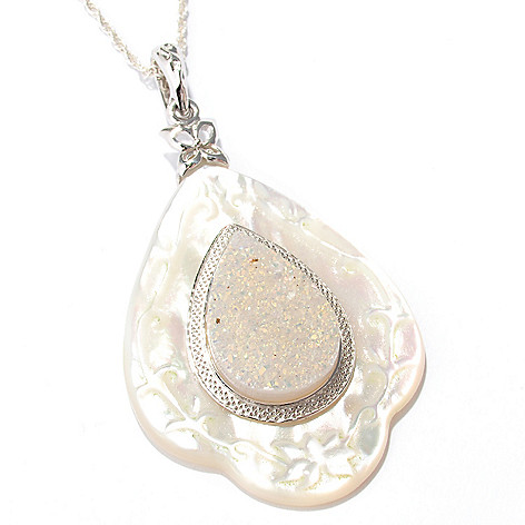 116-555 - Gem Insider Sterling Silver Mother-of-Pearl & Tear Drop Drusy Pendant w/Chain