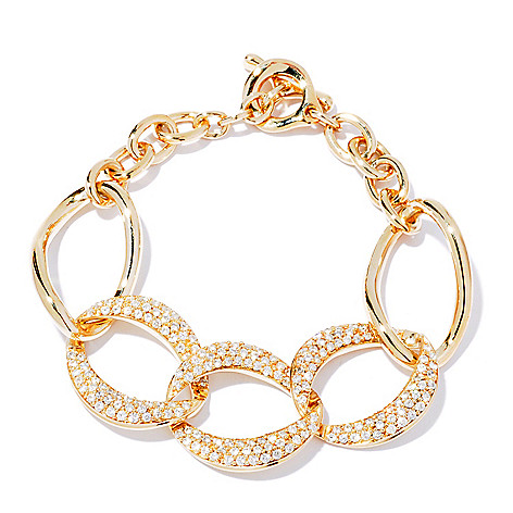 116-570 - Sonia Bitton 4.07 DEW Pave Set Simulated Diamond Chain Link Bracelet