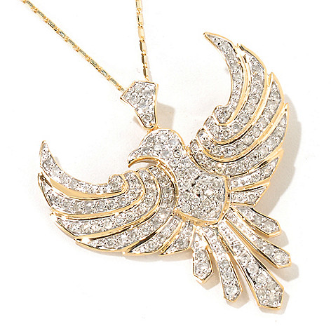 116-717 - Beverly Hills Elegance 14K Gold 1.25ctw Diamond Bird Pendant w/ 18'' Chain
