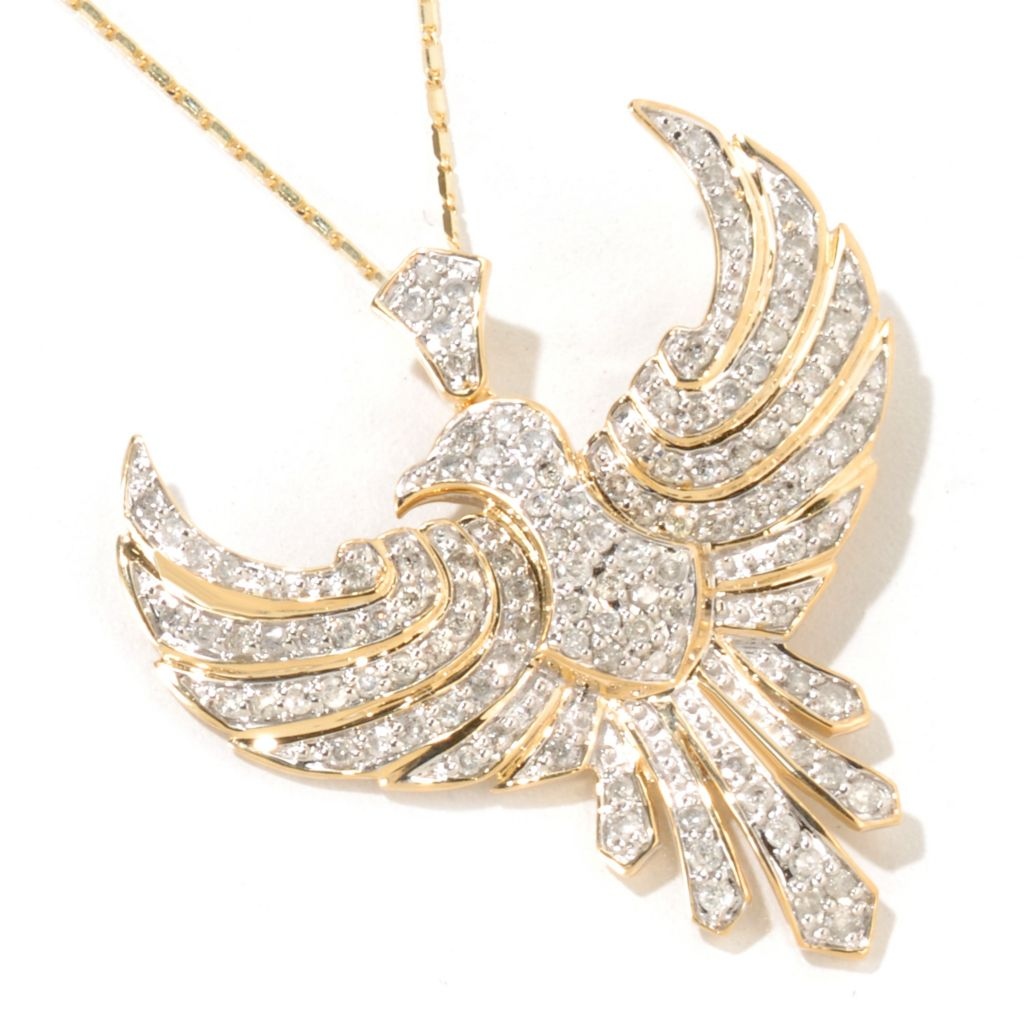 "116-717 - Beverly Hills Elegance 14K Gold 1.25ctw Diamond Bird Pendant w/ 18"" Chain"