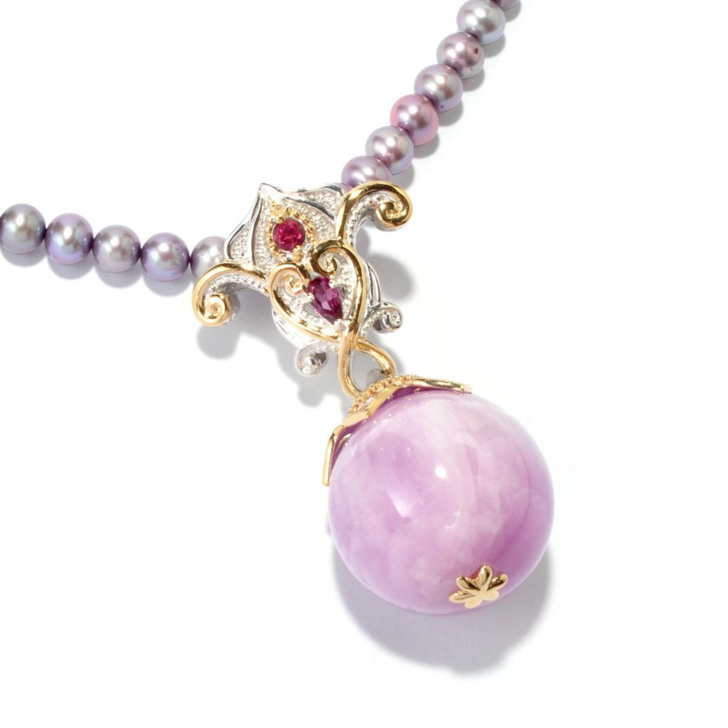 116-821 - Gems en Vogue II Opaque Kunzite & Multi-Gem Enhancer Necklace