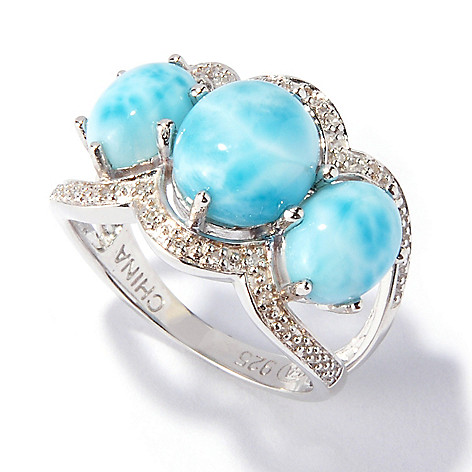 116-907 - Gem Insider™ Sterling Silver 9 x 8mm Larimar & Diamond Three-Stone Ring