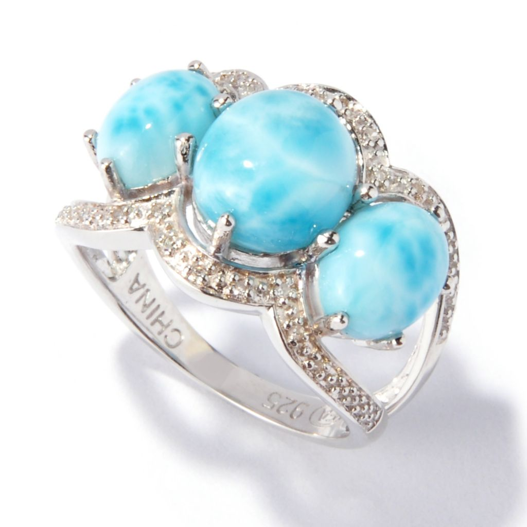 116-907 - Gem Insider Sterling Silver 9 x 8mm Larimar & Diamond Three-Stone Ring