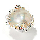 116-980 - Gem Treasures Sterling Silver 22mm Cultured Pearl & Gemstone Frog/Lily Pad Ring