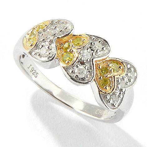 116-981 - Diamond Treasures Sterling Silver .25ctw Yellow & White Diamond Heart Band Ring