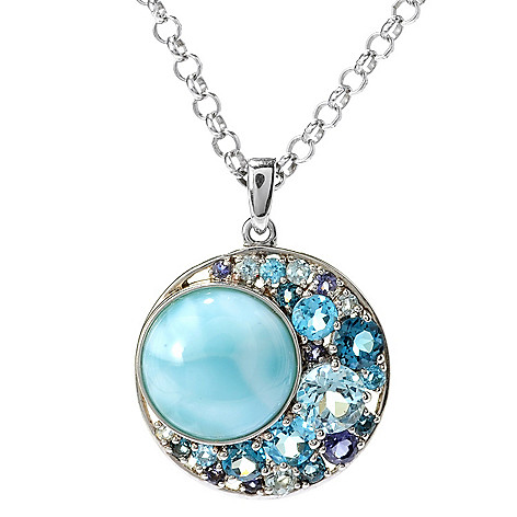 117-099 - Gem Insider Sterling Silver 12mm Larimar & Multi Gemstone Pendant w/ Chain