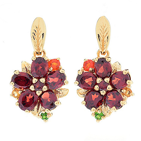 117-171 - NYC II® 1'' Multi-Gemstone Flower Drop Earrings