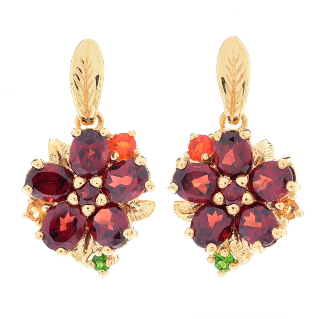 "117-171 - NYC II 1"" Multi-Gemstone Flower Drop Earrings"