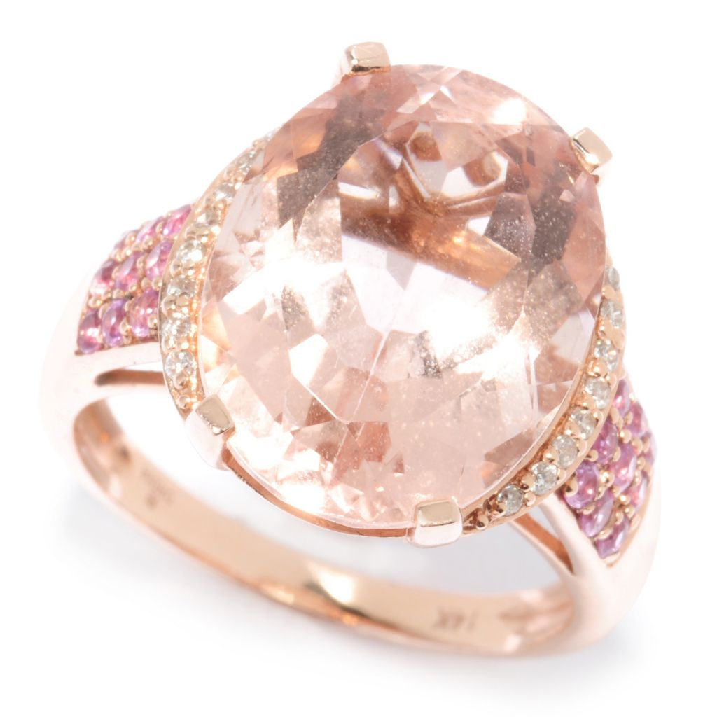 117-307 - Gem Treasures 14K Gold 10.24ctw Morganite, Pink Sapphire & Diamond Ring