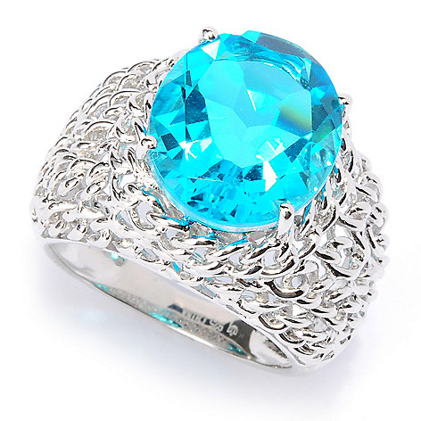 117-332 - Gem Treasures Sterling Silver 14 x 12mm Paraiba Quartz Doublet Woven Shank Ring