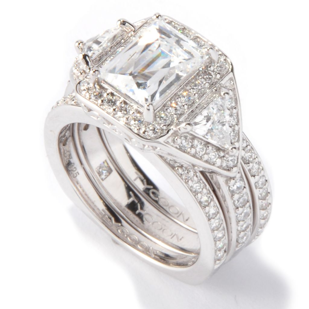 117-416 - TYCOON 3.23 DEW Rectangular Cut Simulated Diamond Ring Set