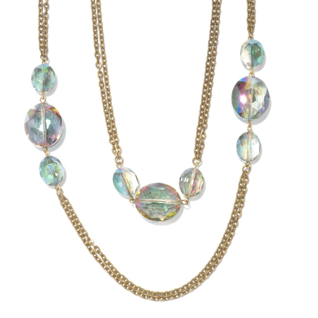 "117-424 - Sweet Romance™ 65"" Iridescent Glass Bead ""Mystic Crystal"" Station Necklace"