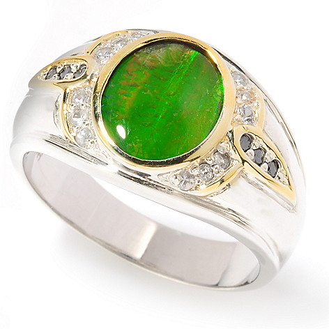 117-478 - Men's en Vogue Ammolite Triplet, Black Diamond & White Sapphire Ring